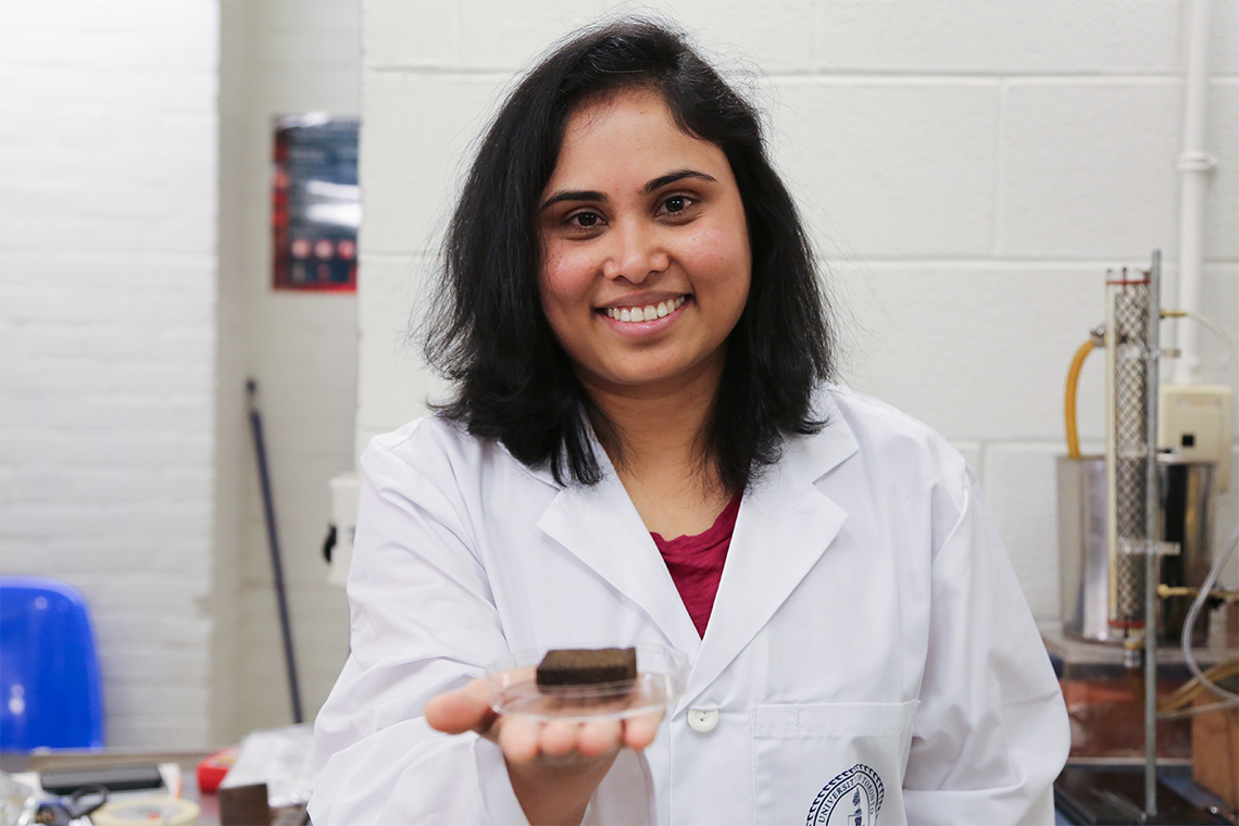 Pavani Cherukupally holds one of the special polyurethane sponges