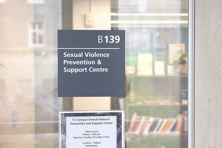 Signage outside the Sexual Violence and Prevention Office at U of T