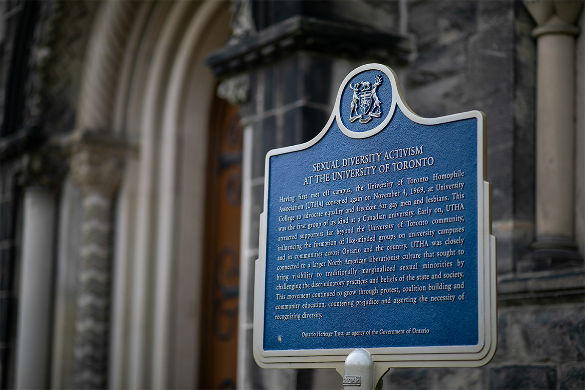 Sexual diversity activism plaque at the University of Toronto