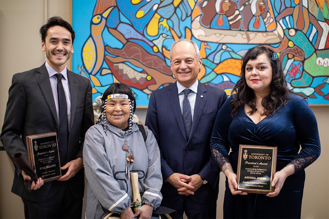 Tyee Fellows, Inuk Knowledge Keeper Naulaq LeDrew, U of T President Meric Gertler and Andrea Johns pose for a photo at First Nations House