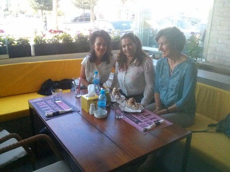 Petra Molnar with journalist Etaf Rouda, and Kristin Marshall in Amman, Jordan