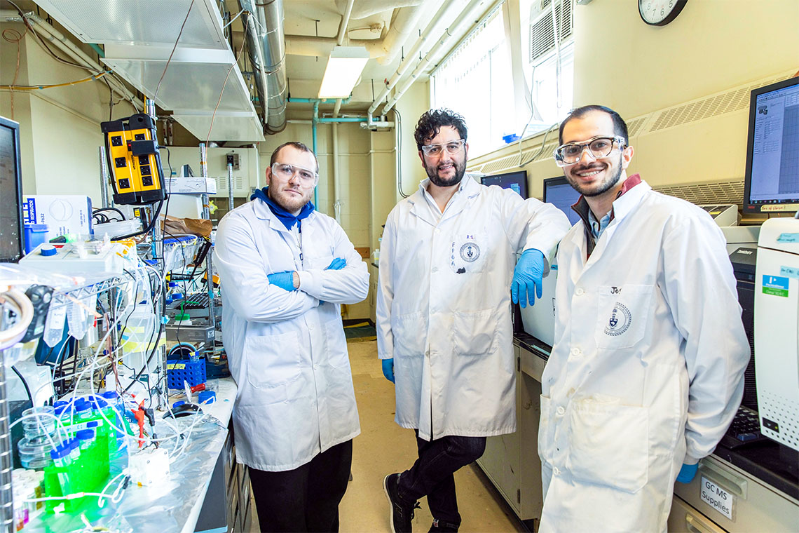 Photo of Adnan Ozden, F. Pelayo García de Arquer and Joshua Wicks in the lab