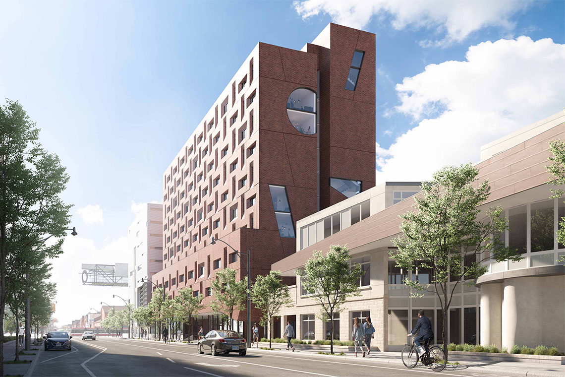 A rendering of the proposed new residence on Harbord street