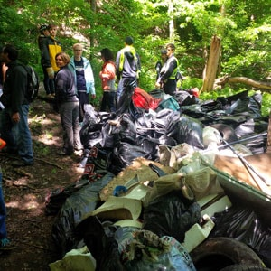 photo showing students in forest with giant pile of trash