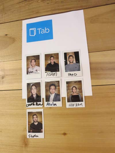 Photos of team members working for Tab