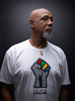 photo of John Carlos in t-shirt
