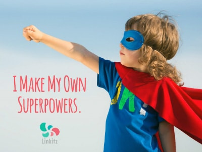 Linkitz ad with child in super-hero costume