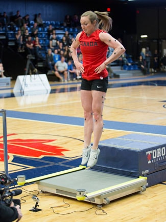 photo of Rosie MacLennan jumping on force plate