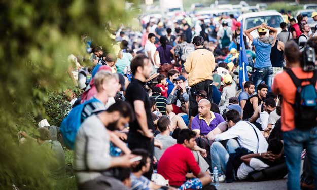 photo of refugees and migrants in Hungary