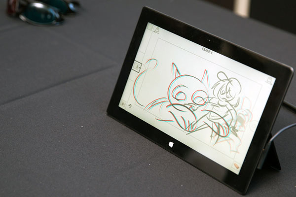 photo of a tablet with storeoboard drawing