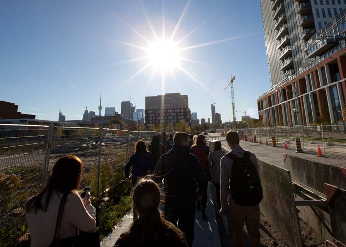 students walk through regent park