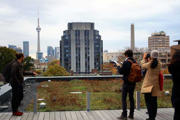 photo of tour participants on the roof of the Rotman building