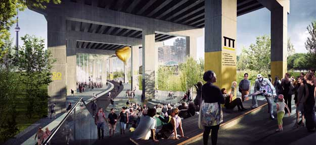 artist's rendering of the Gardiner after the project is completed