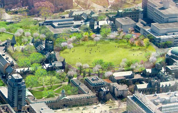 artist's aerial rendering of front campus in spring, with no cars