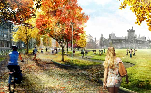 artist's rendering of front campus, southwest corner, showing no cars