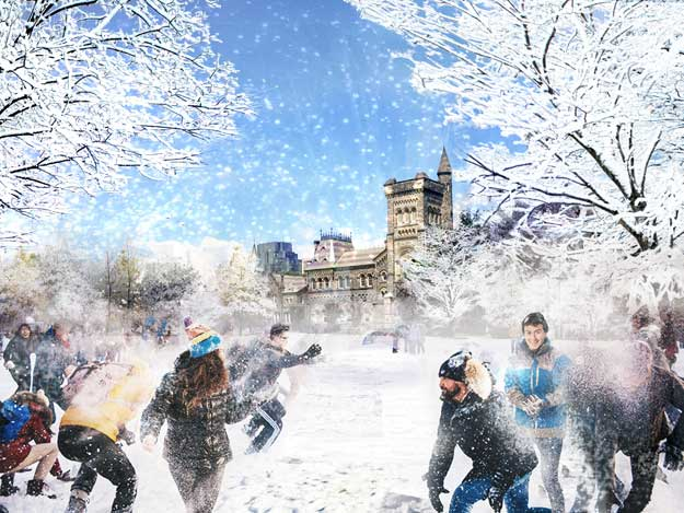artist's rendering of winter scene including snowball fight on front campus