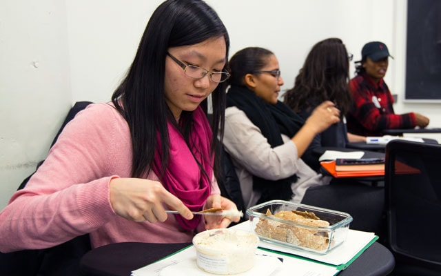 photo of students in the class with chips and dip