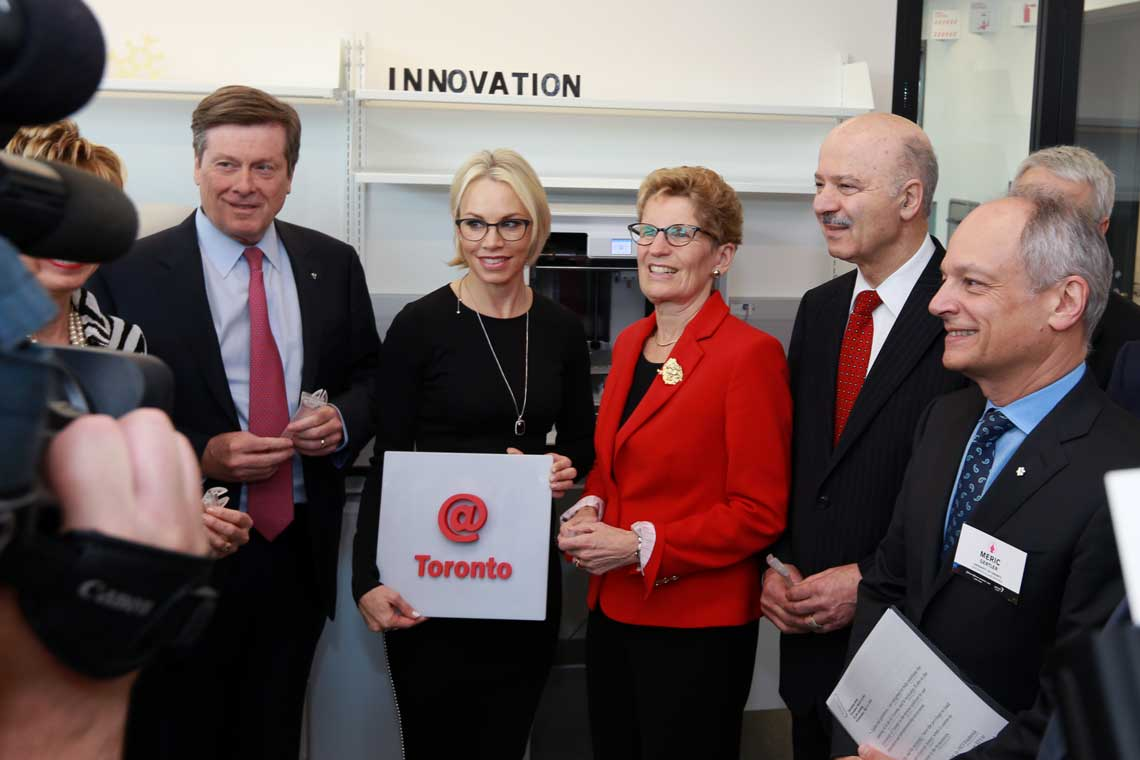 photo of President Gertler, Mayor Tory and premier Wynne at the JLABS opening