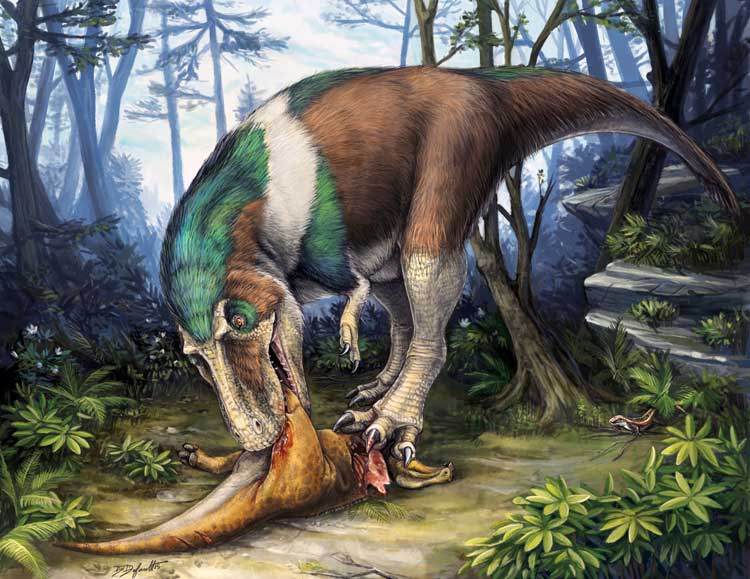artist's rendering of a theropod eating a smaller dinosaur