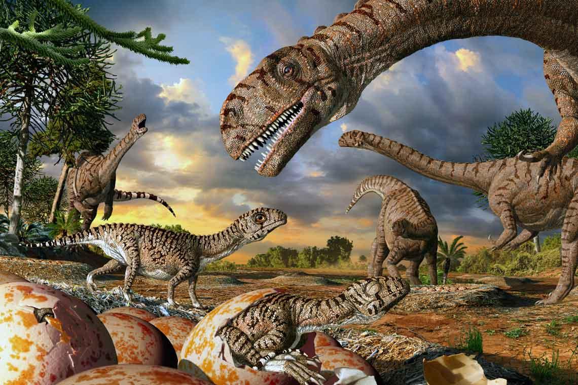 artist's rendering of dinosaurs