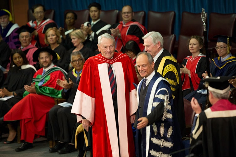 photo of Richard Pound with President Gertler and Chancellor Wilson at convocation