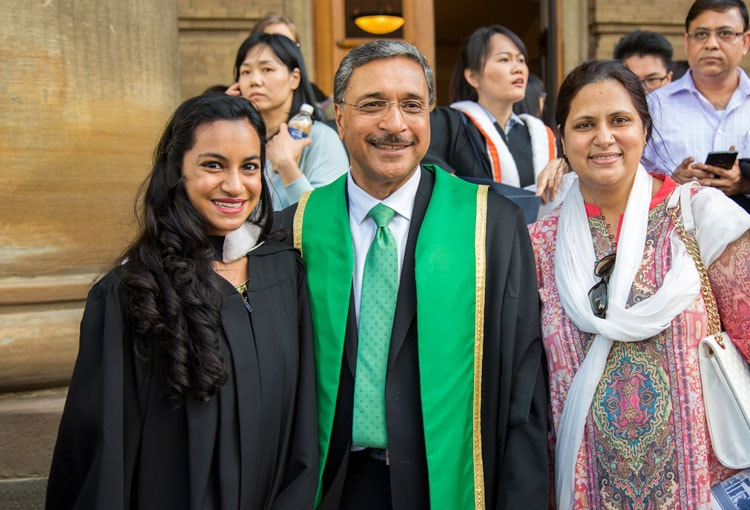 photo of Deep Saini with grads and families