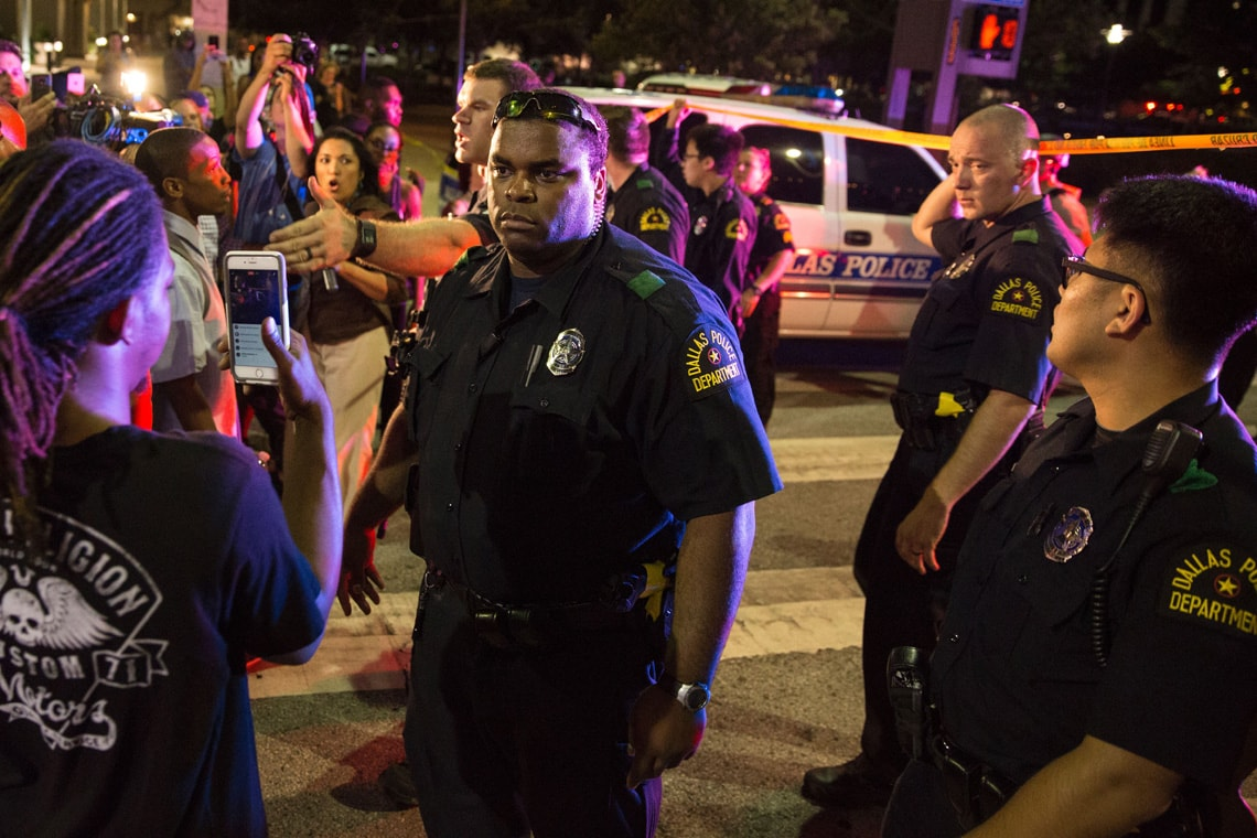 Getty photo of police and protesters