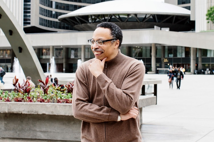 photo of George Elliott Clarke in front of city hall