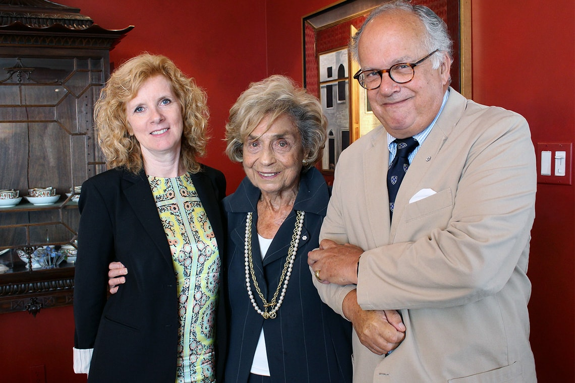 photo of Rose Wolfe with provost and former master of Massey College