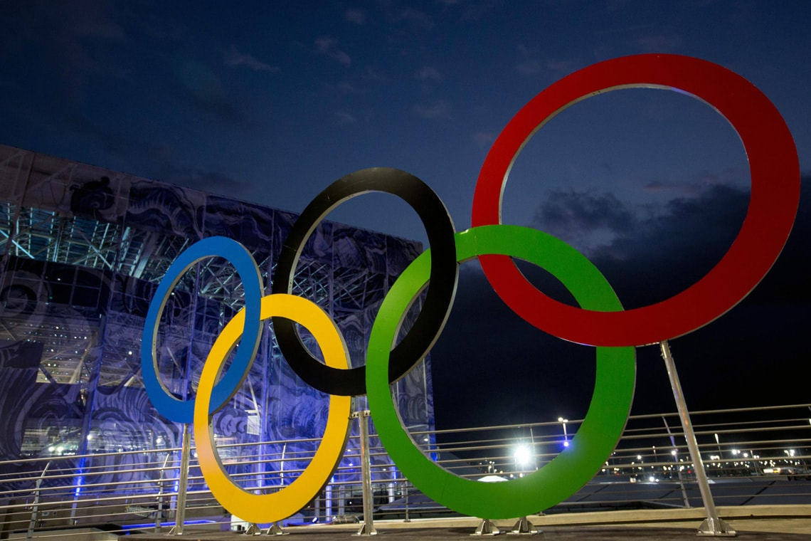 image of Olympic rings in Rio at night