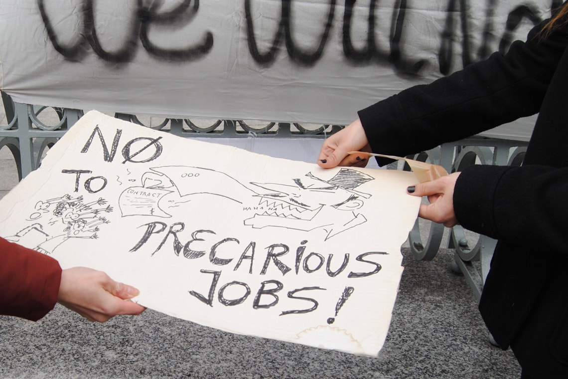 Photo of protest against precarious jobs