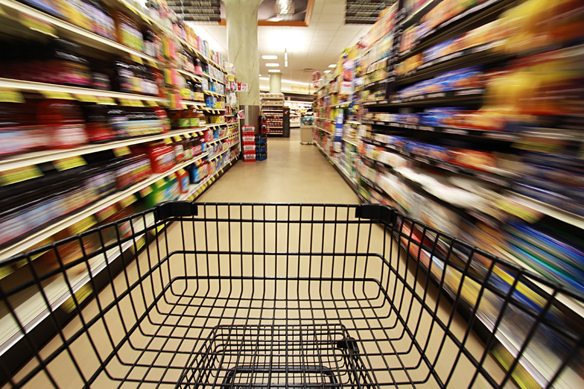 Photo of empty cart in grocery store