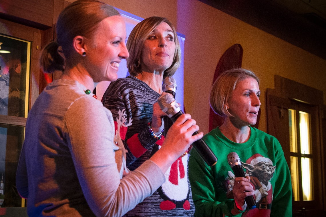 Photo of karaoke singers at a Xmas party