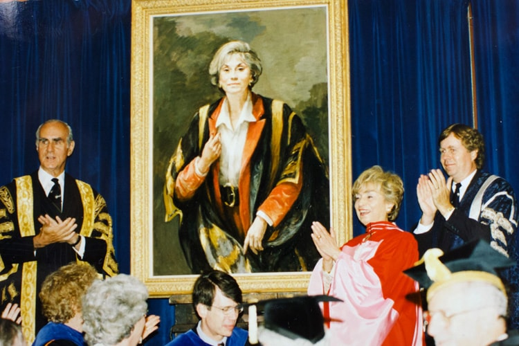 photo of Rose Wolfe at unveiling of her portrait