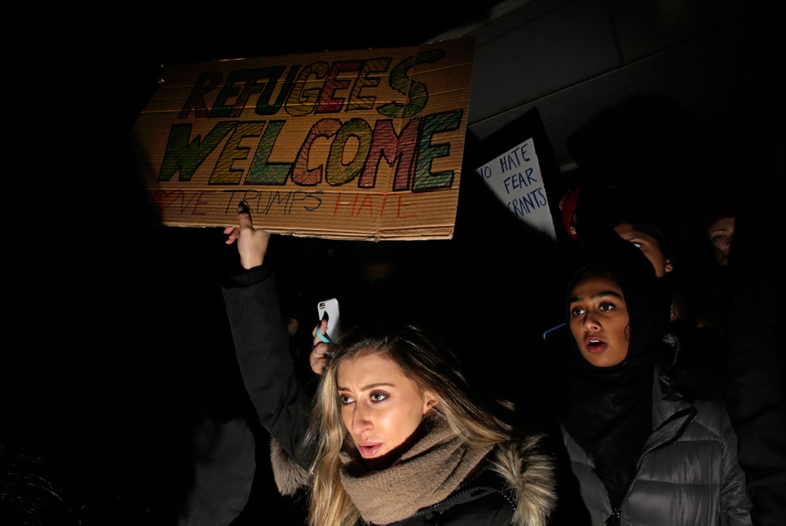 Getty photo of protesters at airport