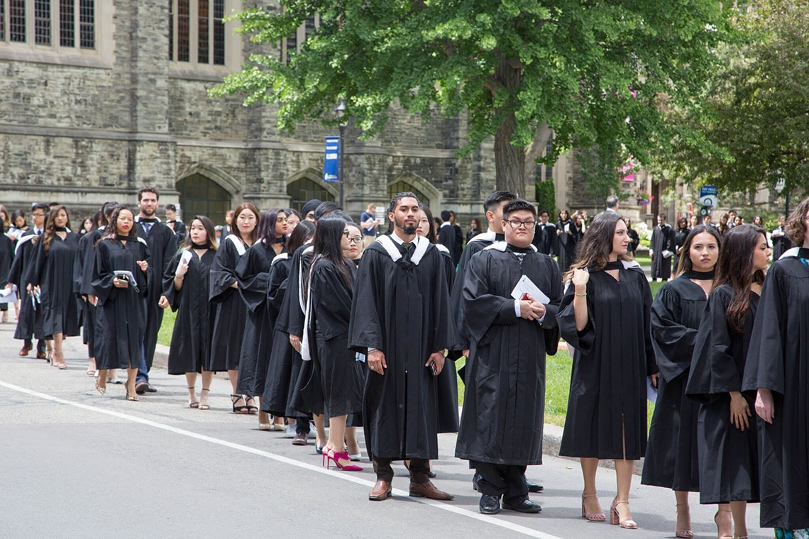 Students walking towards Convocation Hall