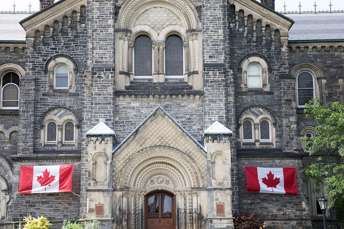 University College decked out with Canadian flags