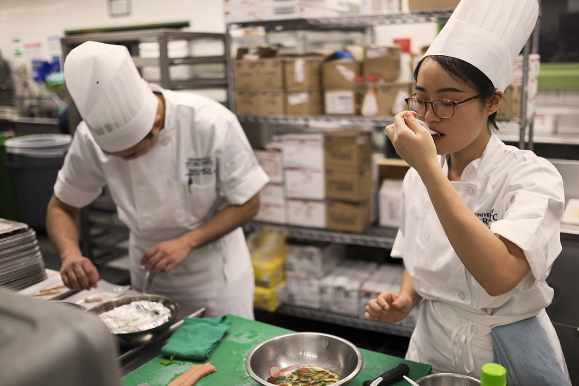 Photo of students training for Iron Chef