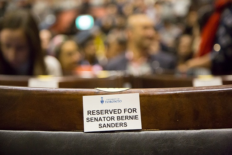 Sanders's seat with reserved sign