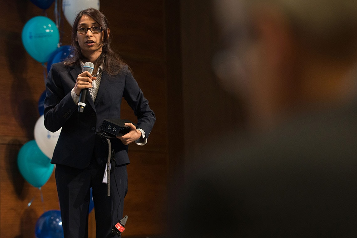 Photo of Pooja Viswanathan making her pitch