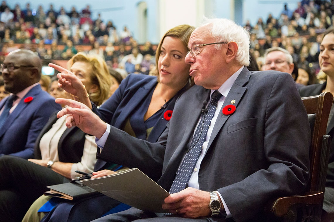 Photo of Danielle Martin and Bernie Sanders