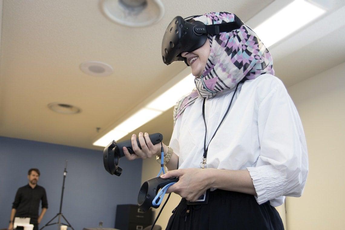 Photo of student using VR equipment