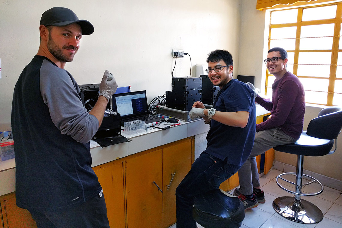 Photo of researchers in temporary lab in Kenya