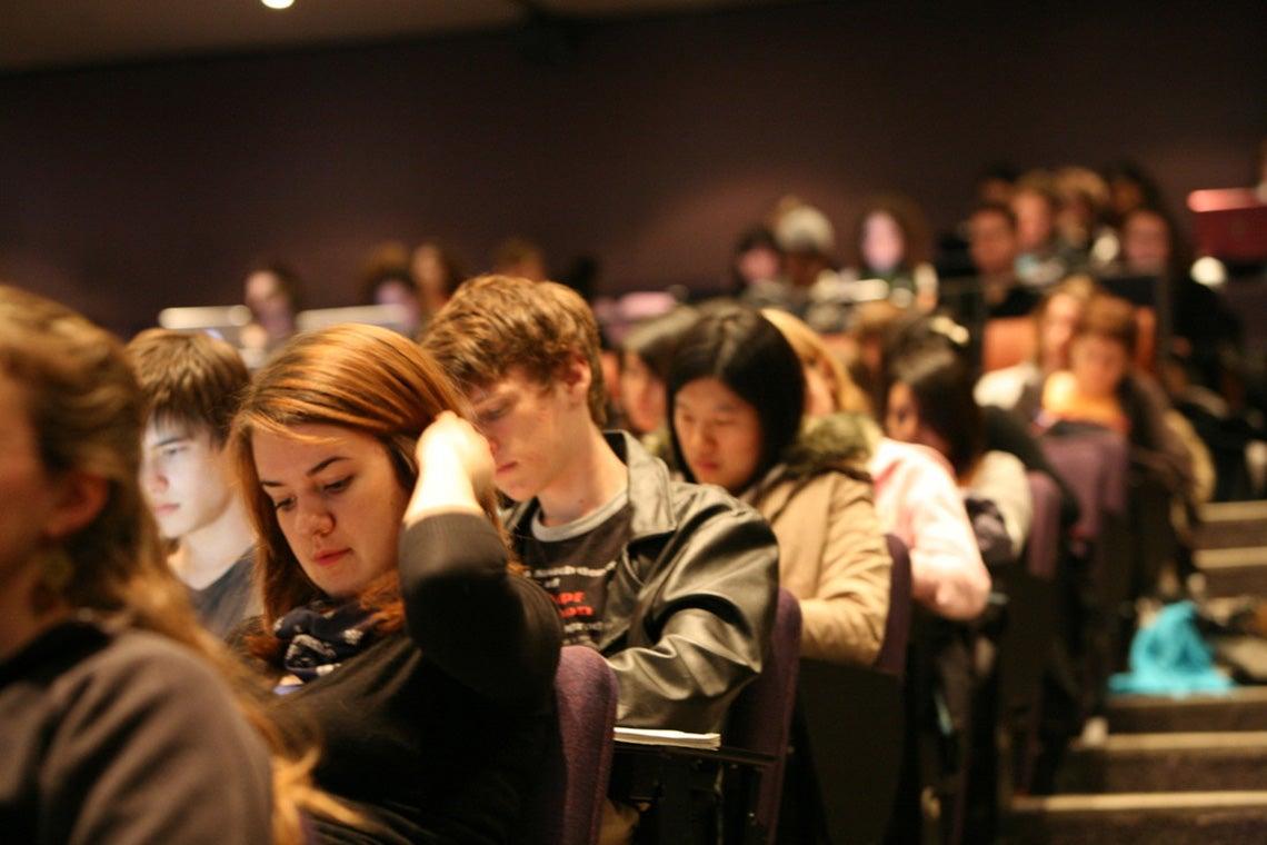 Photo of students taking exam