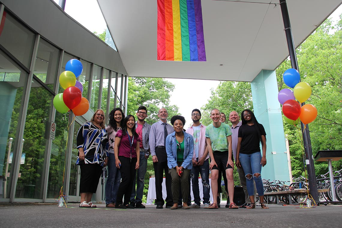 Photo of Pride flag at U of T Mississauga