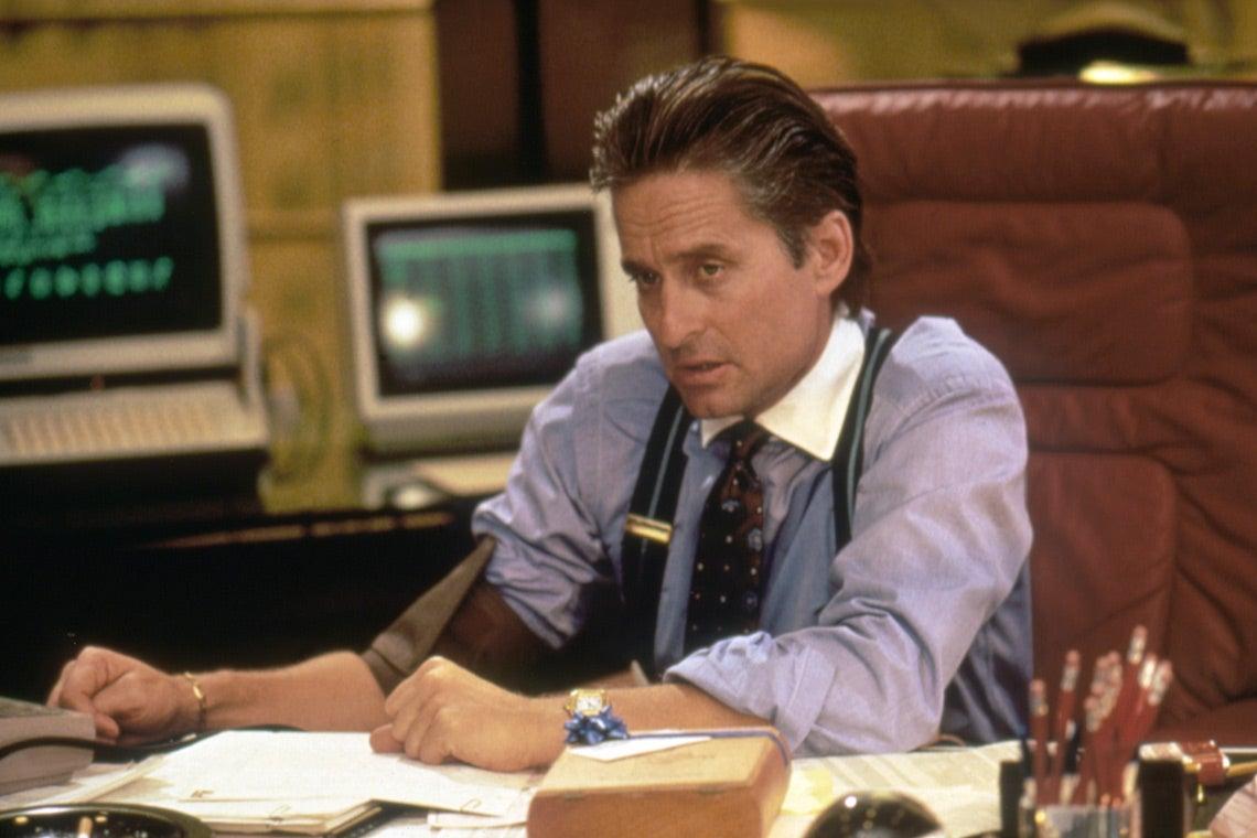 Photo of Michael Douglas as Gordon Gekko in 1987 film Wall Street