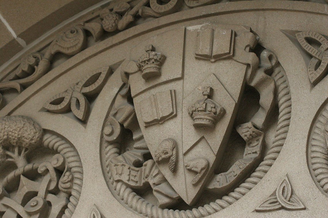 Photo of U of T's coat of arms