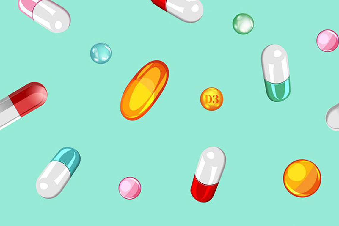 Illustration of over-the-counter pills