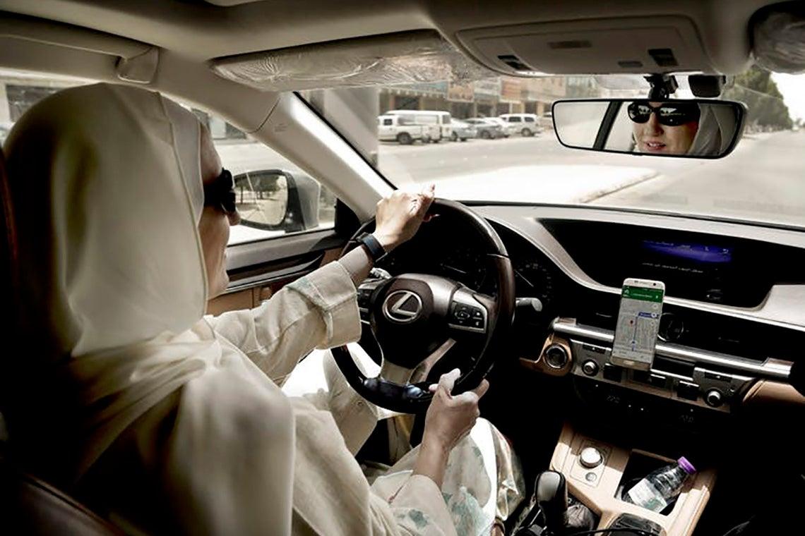 Photo of woman driving in Saudi Arabia