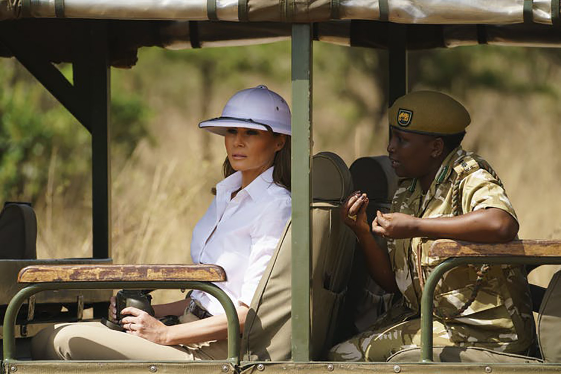 Photo of Melania Trump on safari
